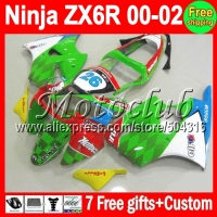 7gifts HOT For KAWASAKI NINJA ZX 6R 00 01 02 ZX636 NEW Green white red ZX 636 ZX6R MC713 ZX 6R 636 2000 2001 2002 NEW Fairing