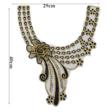 Smiry Hot Sale 1pc Craft Gold Collar Venise 3D Rose Floral Lace Applique Trim Decorated Lace Neckline Collar Sewing Dress Decor