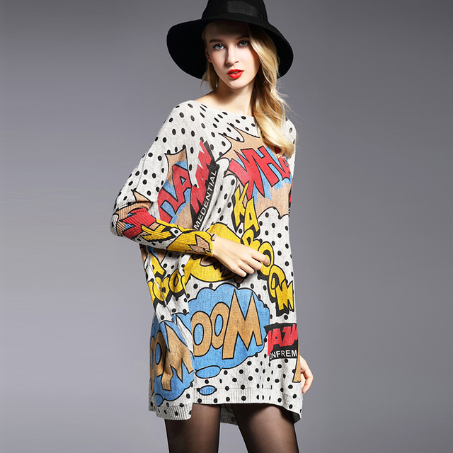 XIKOI Oversize Women Sweater Casual Soft Pullover Fashion Batwing Sleeve Wave Point Print Slash Neck Knitted Pullovers Free Size 2