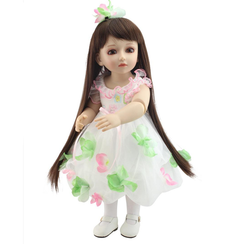 18 Inch Girl Doll Plastic Toy Dolls for Girls Birthday Gifts Toys,45CM Princess Dolls Handmade BJD Doll with Dress Brown Eyes princess dress for 18 inches american girl doll children bjd baby born dolls handmade accessories toy christmas birthday gift