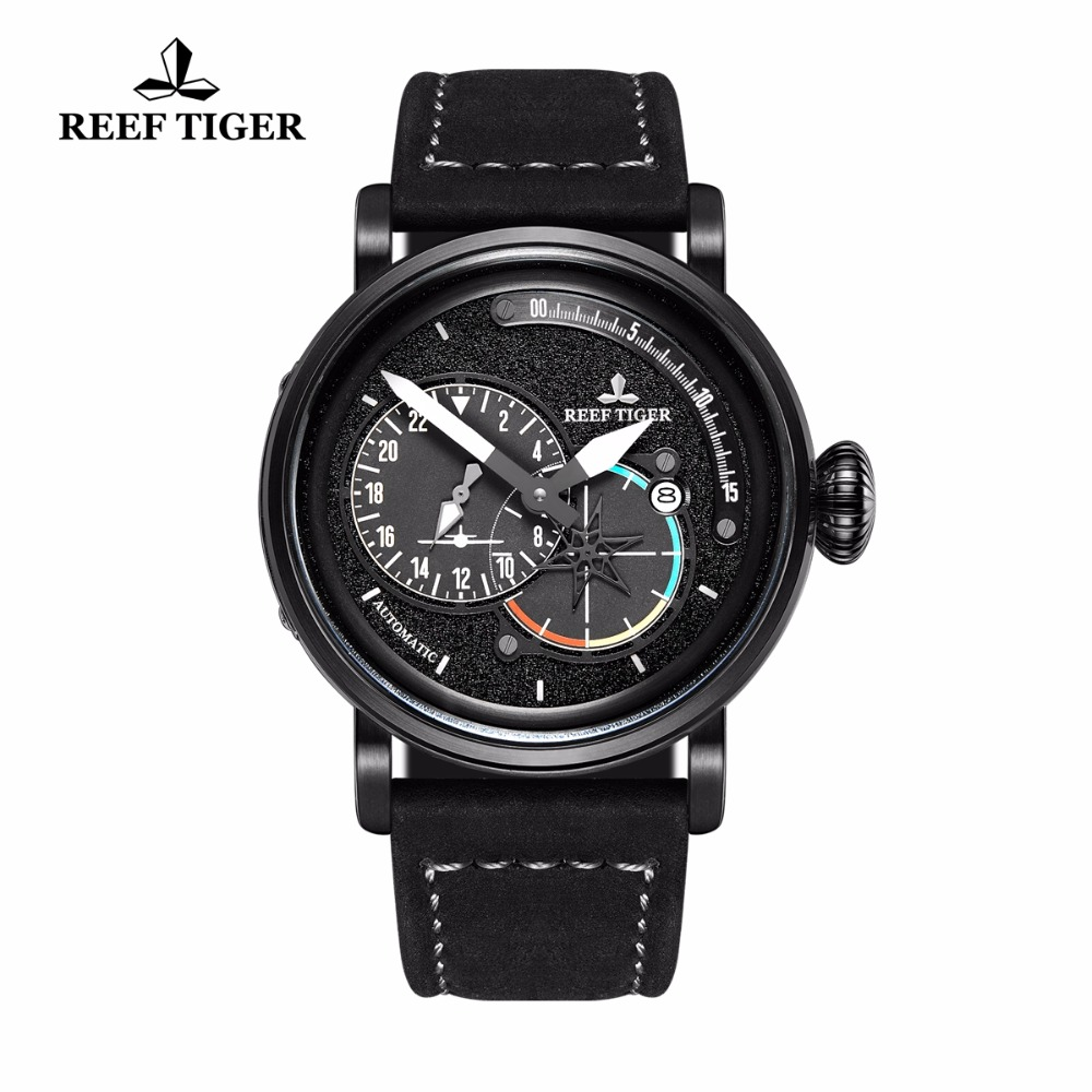 2018 Reef Tiger/RT Military Watch Men Waterproof Mechanical Pilot Watches Aviation Genuine Leather Strap Watches RGA3019