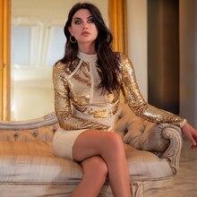 Adyce 2019 新しい秋の女性スパンコールミニ包帯ドレスエレガントなセクシーなロングスリーブクラブドレス Vestidos