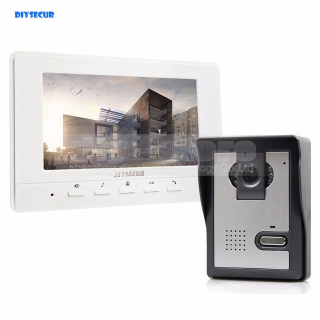 DIYSECUR 7inch Video Intercom Video Door Phone 1 Camera 1 Monitor For Home  / Office Security