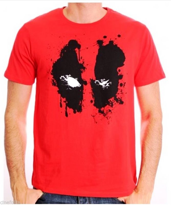 T-Shirt Deadpool Splatter Face Logo Red Marvel Maglia Uomo Ufficiale 3D Men Hot Cheap Short Sleeve Male T Shirt