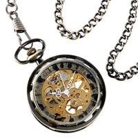 Classic Bronze Mechanical Pocket Watch Trendy Fob Open Face Vintage Copper Hand Winding Retro Men Women