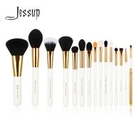 Jessup Pro 15pcs Makeup Brushes Set Powder Foundation Eyeshadow Eyeliner Lip Brush Tool White And Gold