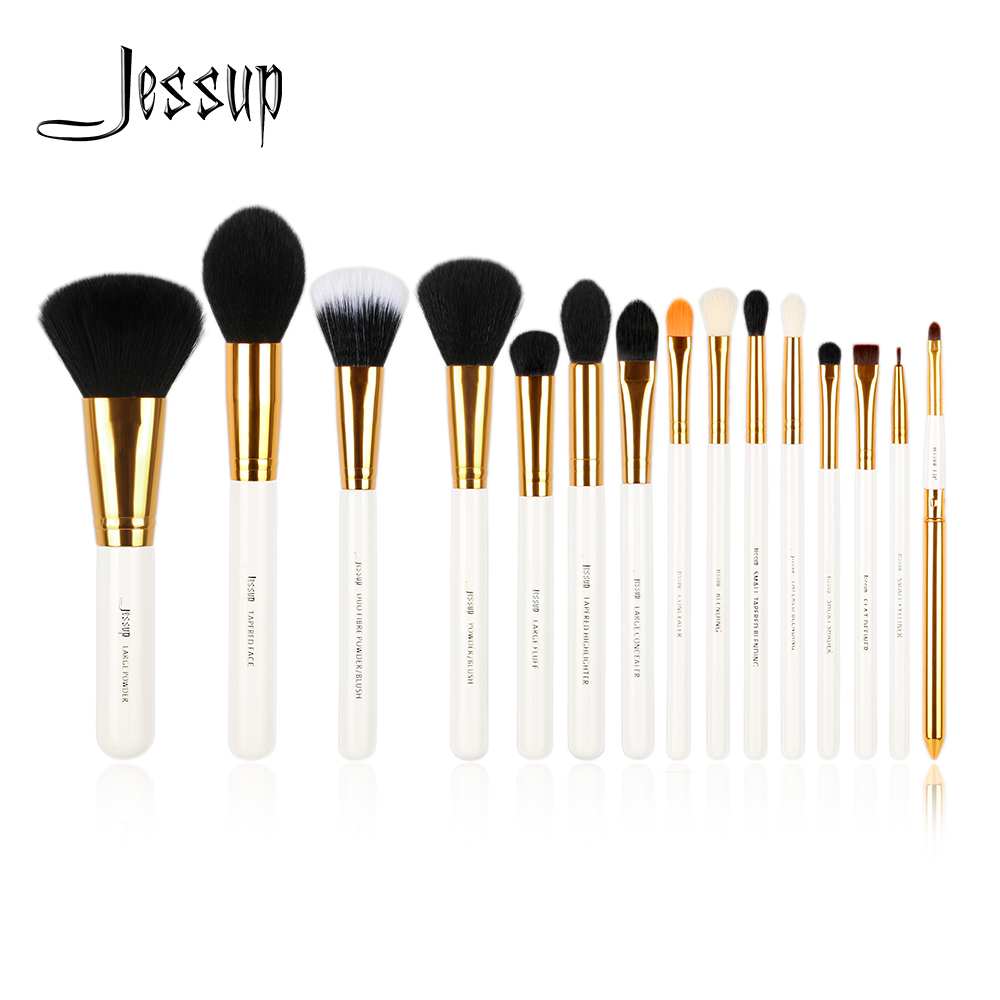 Jessup brushes 15pcs Makeup Brushes Powder Foundation make up brush set Eyeshadow Eyeliner Lip Tool White / Gold Cosmetic beauty maange dropship leather cosmetic case portable storage makeup bags organizer brush holder cup pu material anne