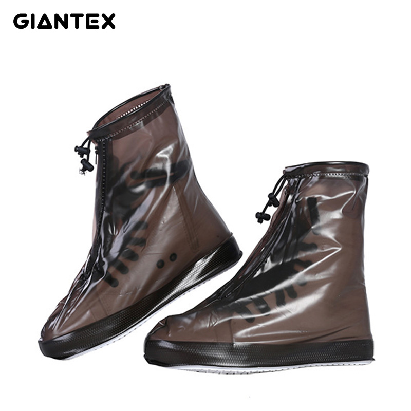 GIANTEX Men Women's Rain Waterproof Flat Ankle Boots Cover Heels Boots Shoes Covers Thicker Non-slip Platform Rain Boots U1736