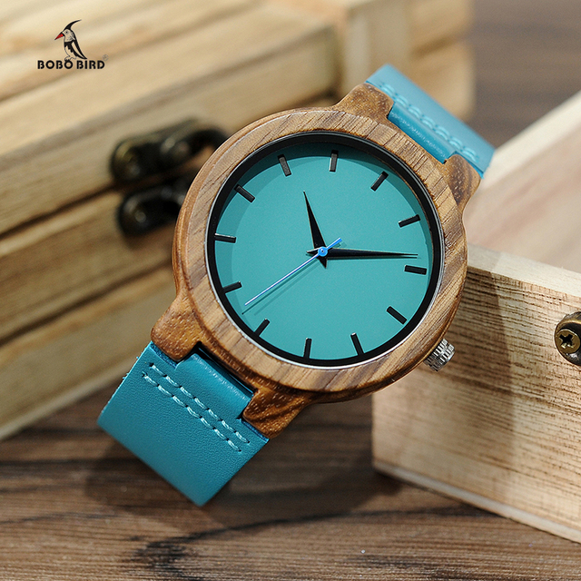 Bamboo Watch Turquoise Blue Leather - Japanese miytor 1