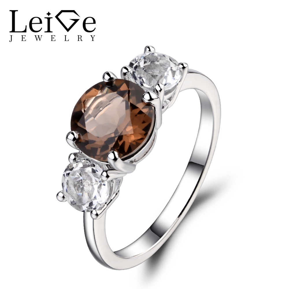 Leige Jewelry Three Stone Ring Natural Smoky Quartz Rings Round Cut Gemstone Wedding Engagement Jewelry Sterling Silver 925