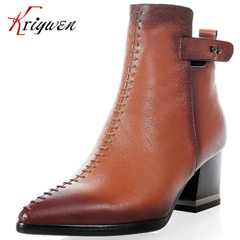 2016 New Autumn Western pointed toe boots female shoes 100%Genuine leather thick square Low-heels women fashion Ankle boots front lace up casual ankle boots autumn vintage brown new booties flat genuine leather suede shoes round toe fall female fashion