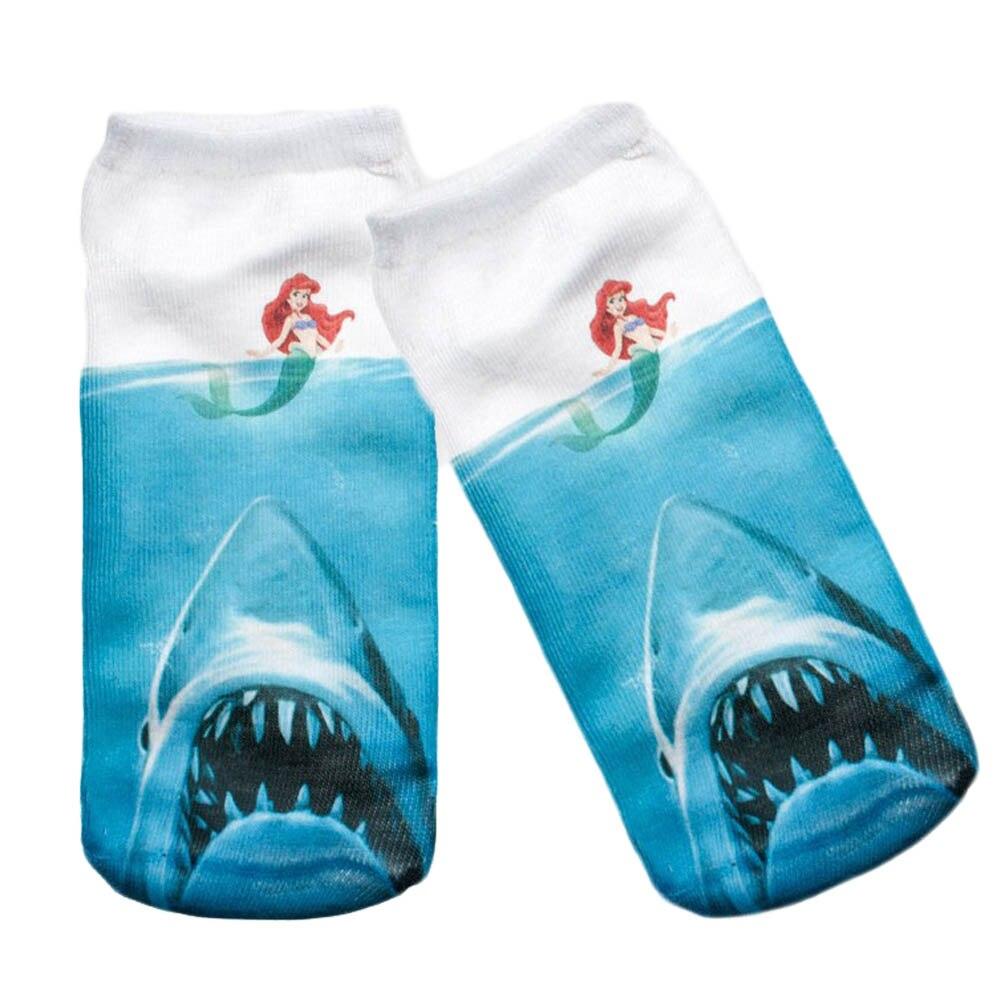 1 pair 2017 New Fashion Harajuku Mermaid Printed Student/Teenager White Socks 3d Digital Print Women Girls Men Funny Anklet Sock