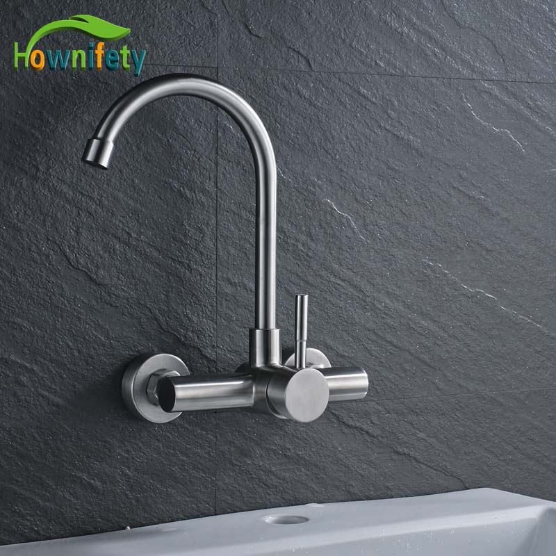 Фотография Wall Mounted Bathroom Kitchen Mixer Faucet Dual Hole Single Level Bathroom Sink Basin Water Tap Brushed Nickle