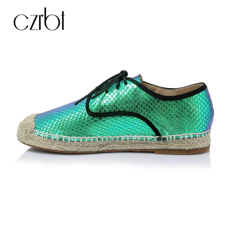 CZRBT Fashion Snake Scale Espadrilles Shoes Women Loafers Grass Weaving Summer Fishermen Ladies Flats Genuine Leather TPR Solo