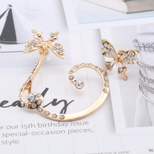 HUMANO FINO Fashion Gorgeous Colorful Imitation Crystal Lovely Retro Romantic Golden Double Butterfly Earring For Women Girl Gif