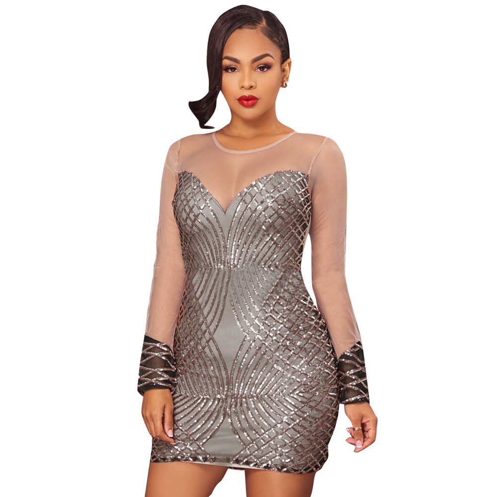 Women Sheer Mesh Rose Gold Sequin Dress See Through Long Sleeve Dress  Bodycon Mini Party Dress
