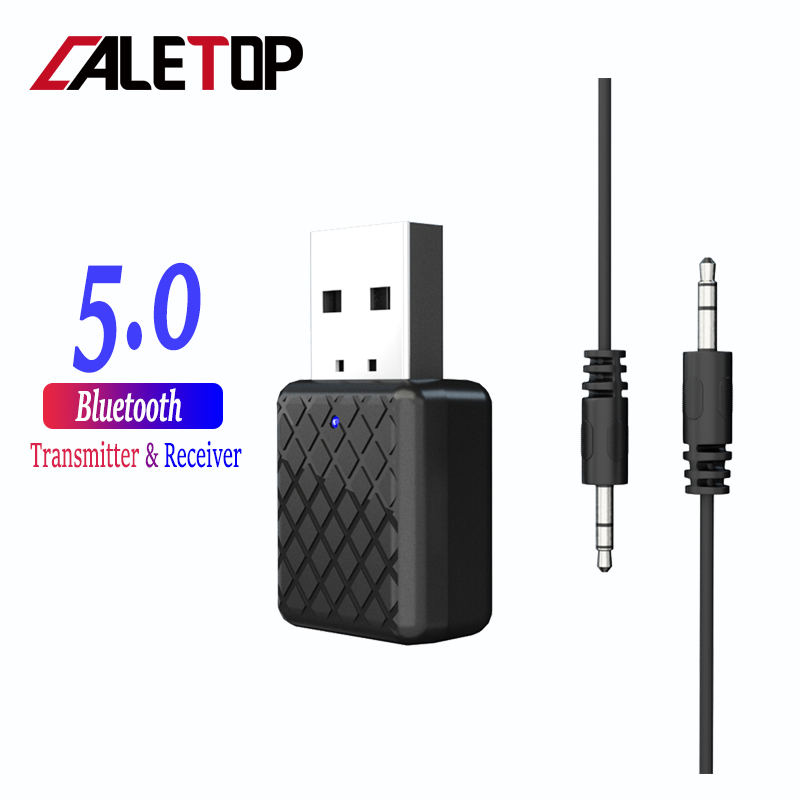 CALETOP Bluetooth 5.0 Adapter Bluetooth Transmitter Receiver 3.5mm Stereo Audio Sound Music Dongle For TV PC Headphones Speakers