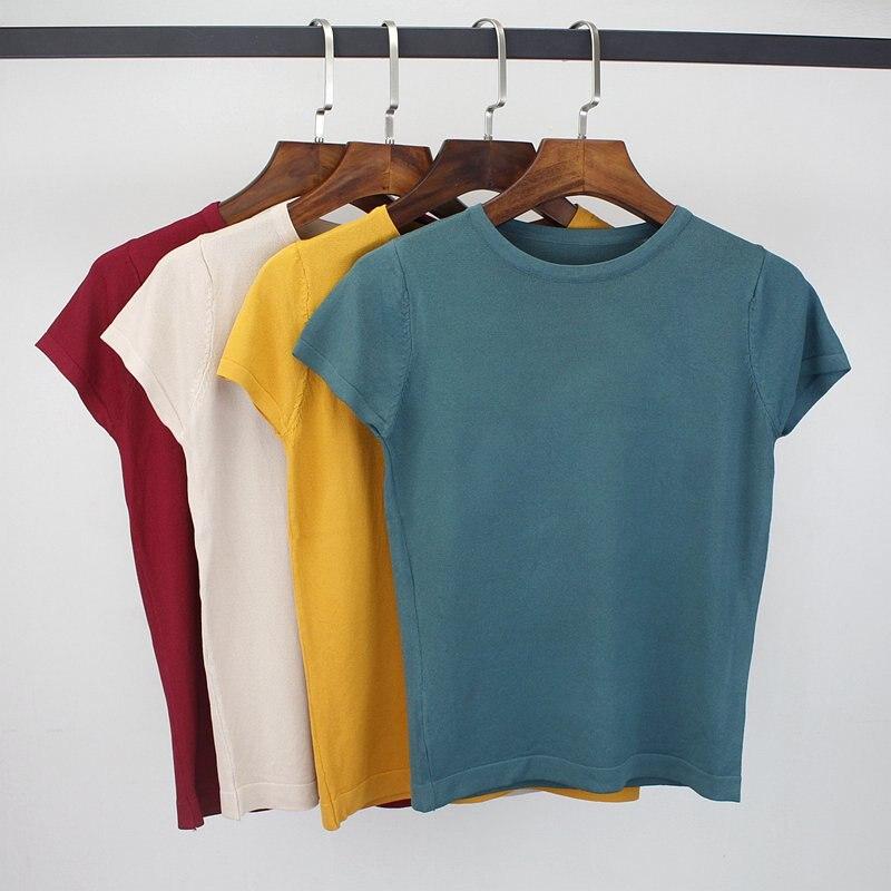 GIGOGOU 2019 Summer T Shirt Women Knitted Short Sleeves Tee Shirt High Elasticity Breathable Top Female Tshirt