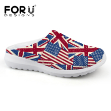 2016 New Novelty Summer Clogs Sandals font b Women b font Mesh Sandalia UK USA Flag