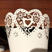50 pcs Wedding Party Confetti Cones Petal Candy วางงานแต่งงาน Favors Stitch Heart, เส้นขอบดอกไม้กระดาษ Cones ของขวัญบรรจุกระดาษ
