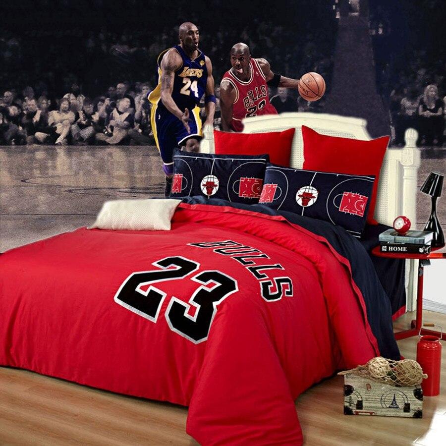 Sport basket - ball ensembles de literie bleu rouge chicago bulls # 23 Michael Jordan linge de lit couvre-lit barcelone