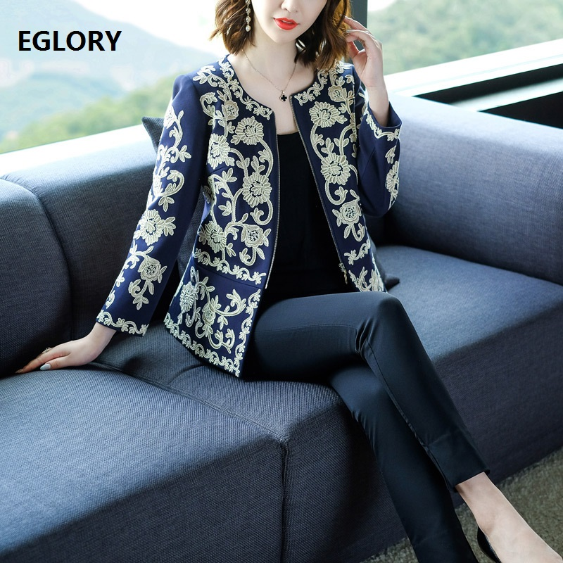 High Quality Brand Jacket 2019 Spring Autumn Jacket Women Vintage Embroidery Long Sleeve Zipper Coat Female Plus Size Jacket 3xl