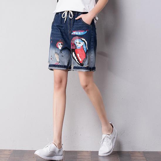 2017 mulheres short cintura solta bonito impresso calça jeans buraco