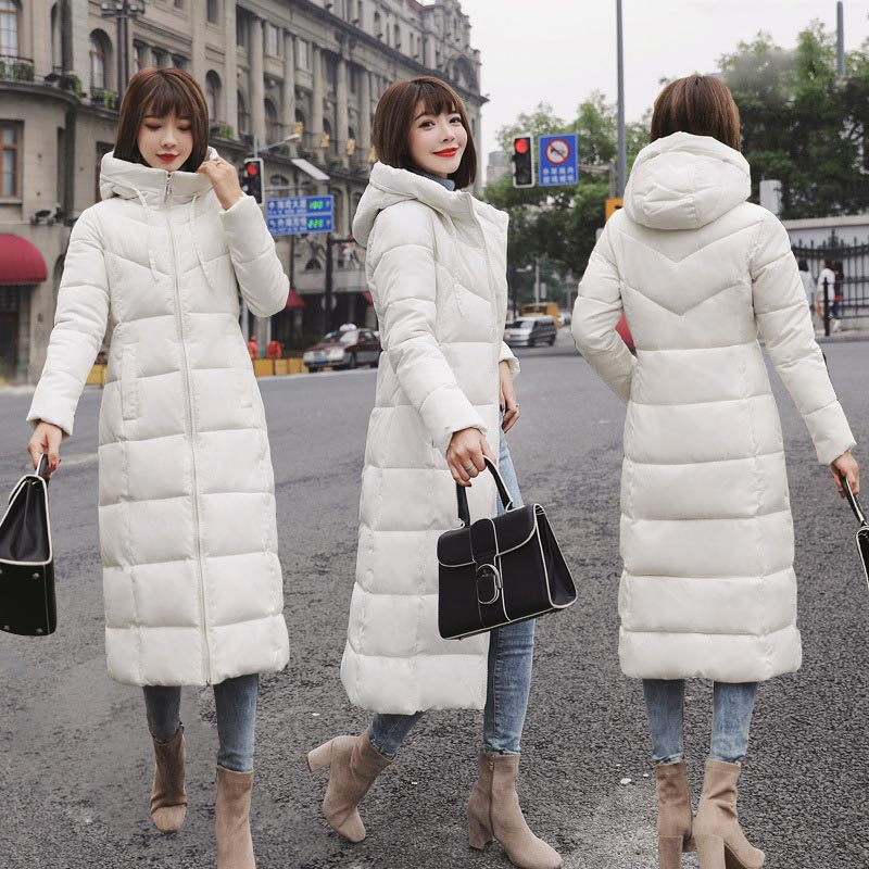 Basic style solid slim hooded   down     coat   women long women   down   jacket waterproof windproof winter jacket women plus size