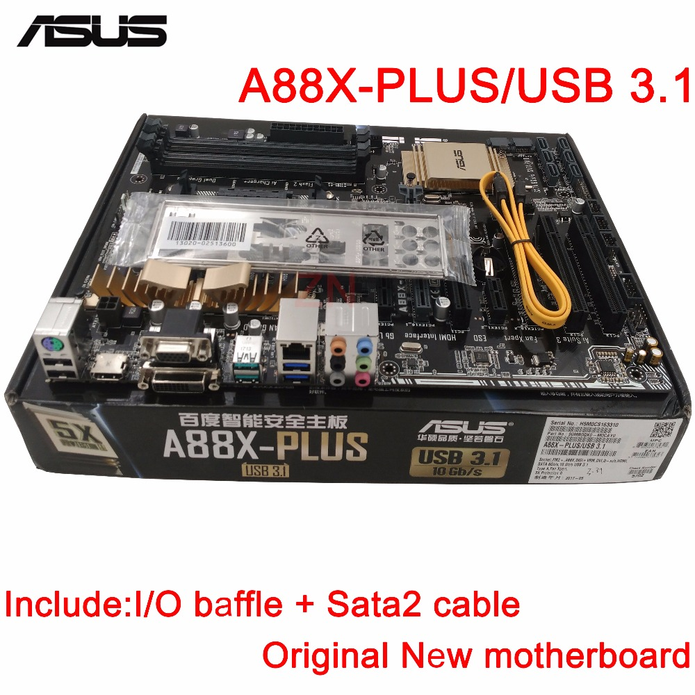 original New Desktop motherboard ASUS A88X-PLUS/USB 3.1 mother board Socket FM2+ 4*DDR3 2133/1866/1600/1333 support 64G 6*SATA3 asus a88x plus desktop motherboard a88x socket fm2 ddr3 32g sata3 usb3 0 atx