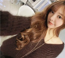 mink cashmere sweater female loose BianFuShan big V collar Pullove rfree shiiping J61