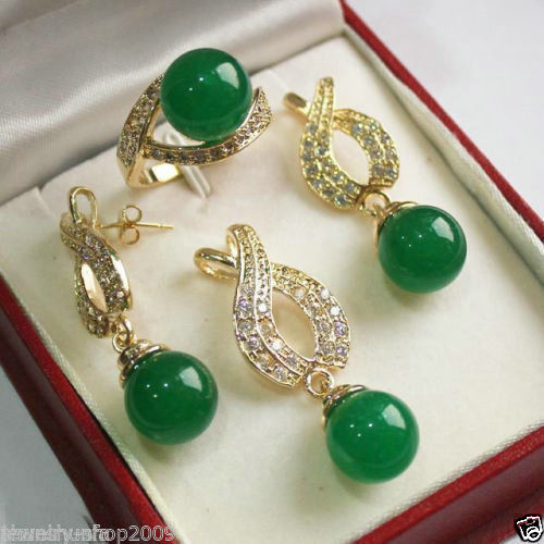 natural Jewelry natural real Green gem Pendant Necklace Earrings Ring Quartz Fine Plated Bridal wide watch wings queen
