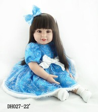 55cm silicone vinyl reborn baby dolls lifelike accompany sleeping princess toddler doll kid high-end christmas boutique gifts