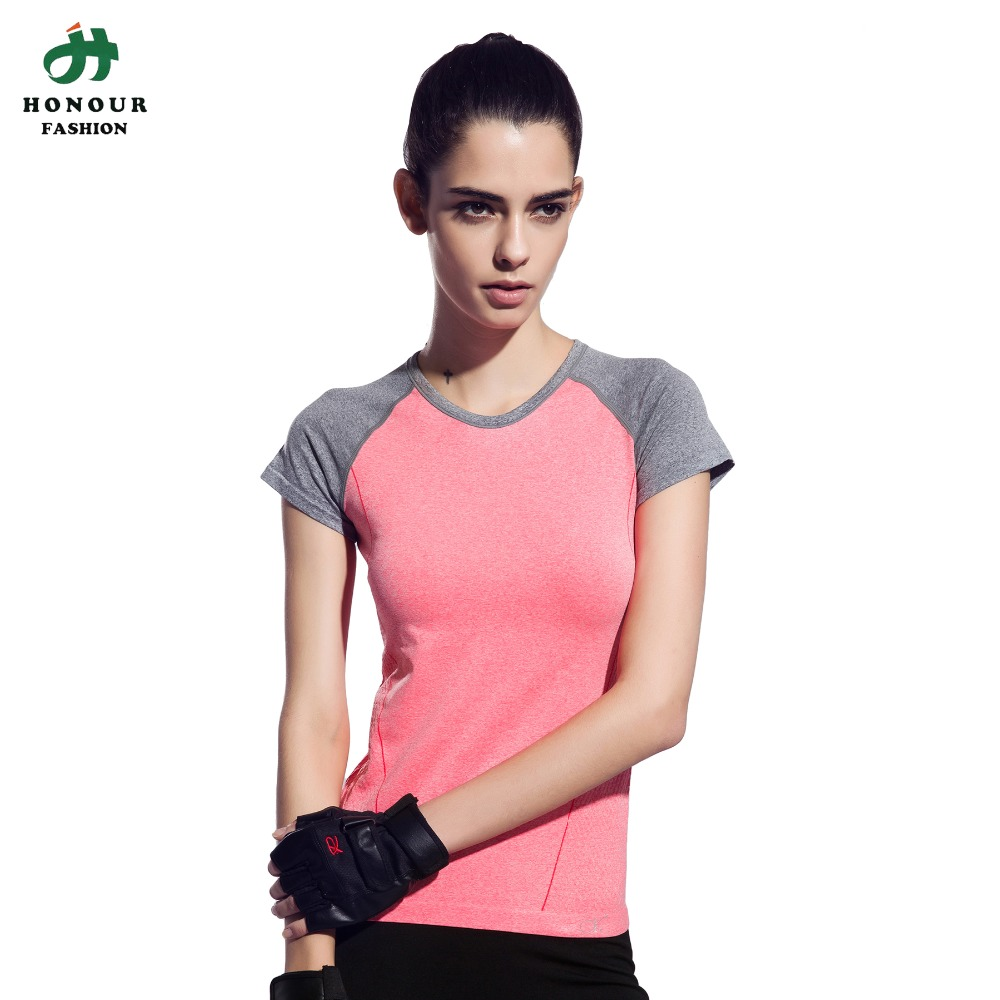 Women Shaped patchwork Gym T shirt Yoga Top Compression ...