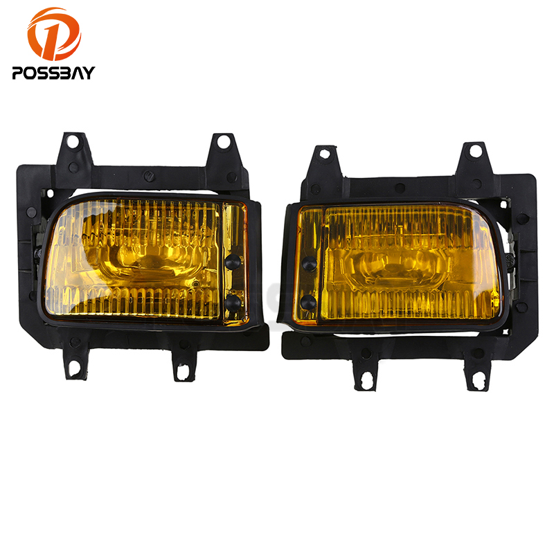 POSSBAY Front Bumper Fog Lights Cover Yellow Lens for BMW E30 3-Series Sedan 1985-1993 Car External Ligth Cover Shell epman universal black 3 76mm polished aluminum fmic intercooler piping kit diy pipe l 450mm for bmw e30 3 series ep lgtj76 450