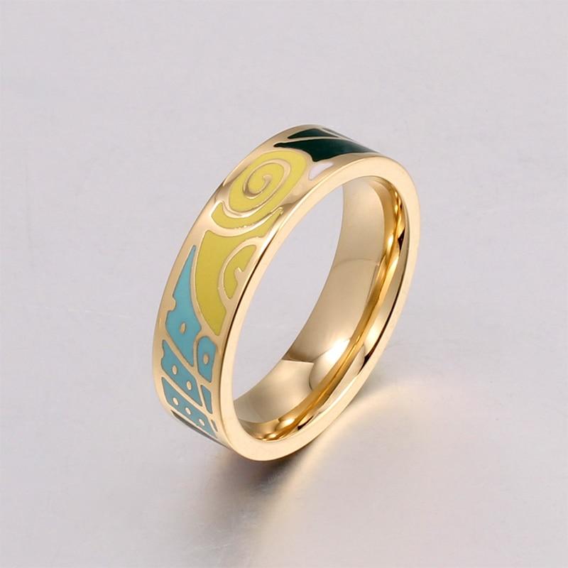 Popular Fine Jewelry Rings Women Vintage Stainless Steel Multi-Color Fashion Pretty Charm Enamel Ring