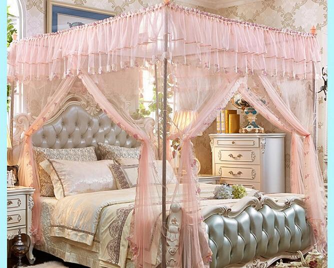 St mooie bed netto mesh kamer decoratie netting roze paars bed