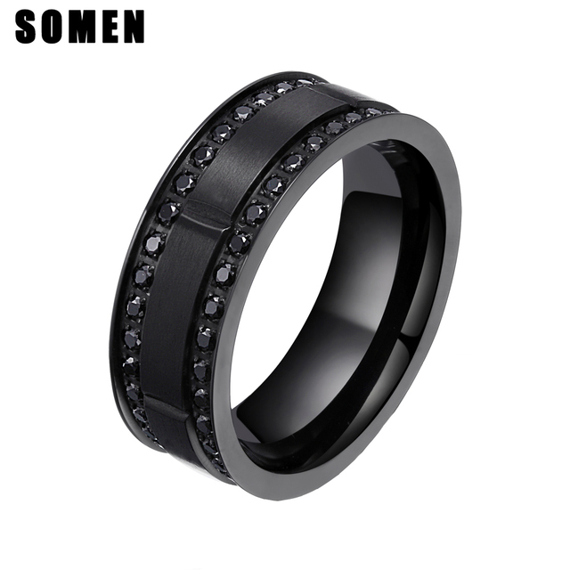 3a3217fa7ed0a6 8mm Black Titanium Ring Men Wedding Bands Cubic Zirconia Engagement Rings  For Man Male Fashion Jewelry homme bague Aneis Anillo