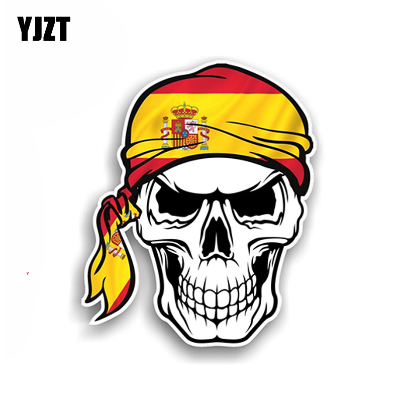 YJZT 9.3CM*11.4CM Motorcycle Hat Car Stickers Spanish Skull Country Flag Decal 6-2026