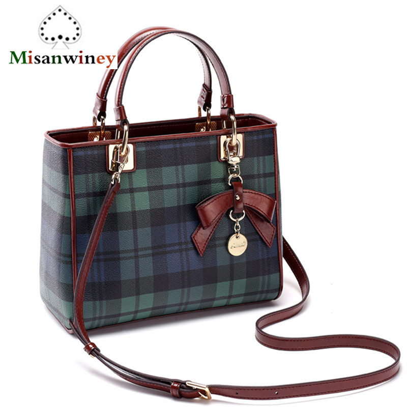 Brand Women Bags Genuine Leather Bags Green Blue Plaid Designer Women Handbags High Quality Cow Leather Shoulder Bags Sac A Main