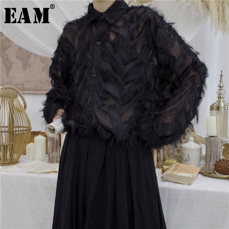 EAM 2019 New Spring Summer Translucent Feather Stand Collar Full Sleeve Loose Tassels Button Shirt
