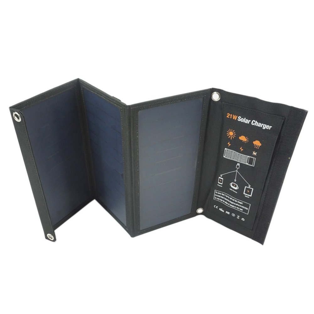 Outdoor Solar Charger Panel Dual USB Port Folding Compact  Waterproof Smartphone Charging Emergency Bag for Android Apple 21W