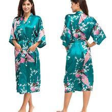 Шелковое кимоно, халат, Женский Атласный халат, шелковые халаты, ночные сексуальные халаты, ночные халаты для подружек невесты, летние, большие размеры-XXXL 010412