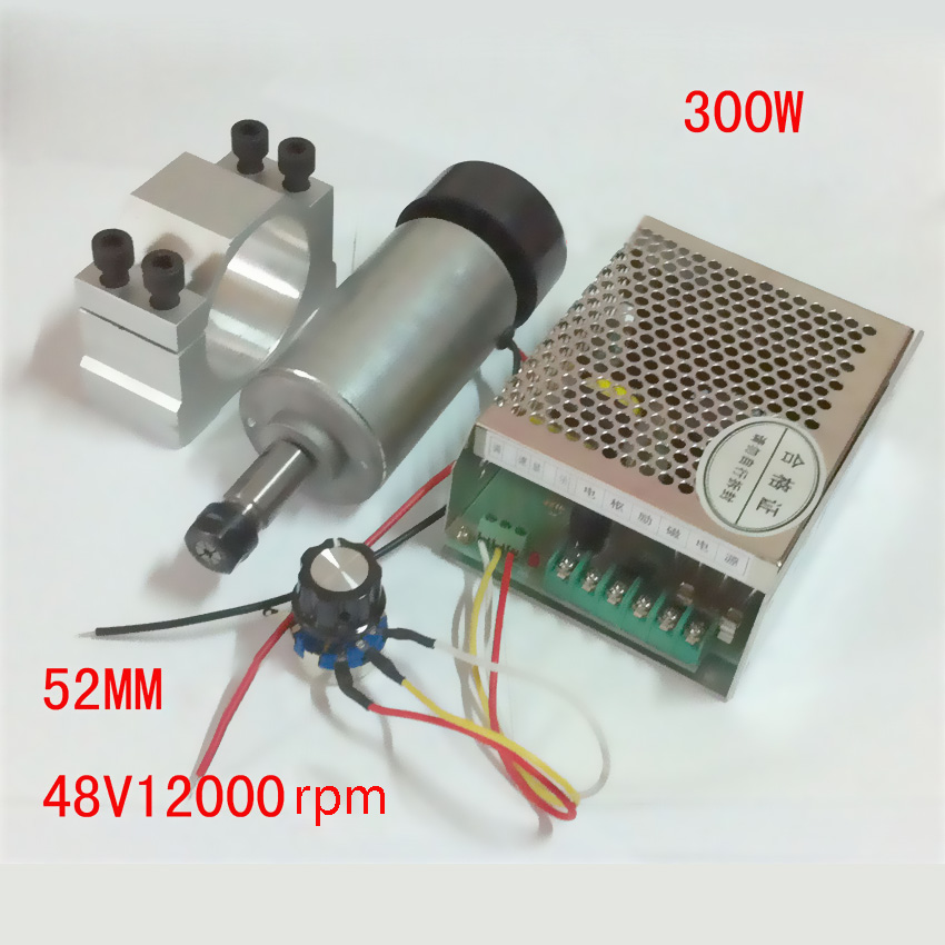 48VDC 300W 2300G/CM 0.3KW High Speed DC Motor ER11 Engraving Machine Spindle Motor + Fixed Fixture + Governor + Milling Chucks dc110v 500w er11 high speed brush with air cooling spindle motor with power fixed diy engraving machine spindle