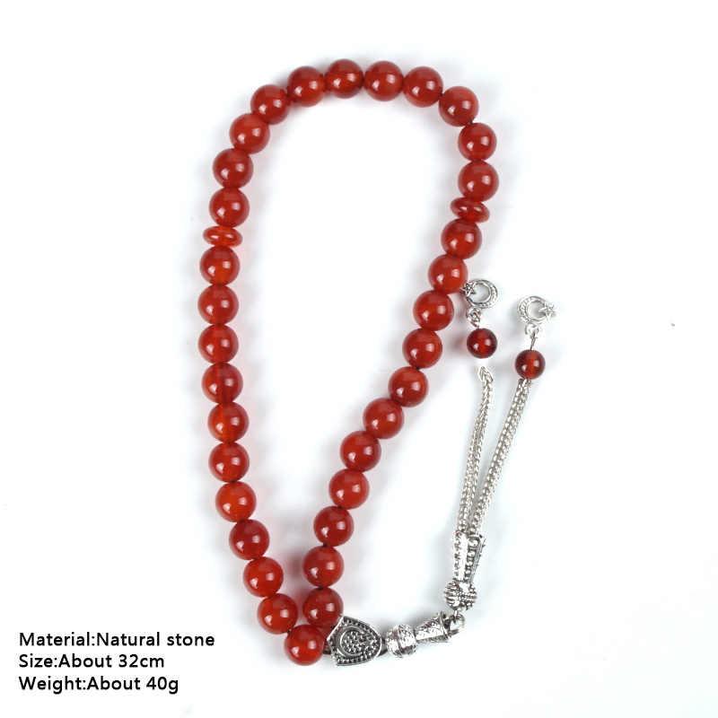 Kamień naturalny czerwony agat różaniec dla religijne muzułmanin modlitwa różaniec 33 sztuk Tesbih Allah 10mm koralik bransoletka buddy z Tassel gwiazda