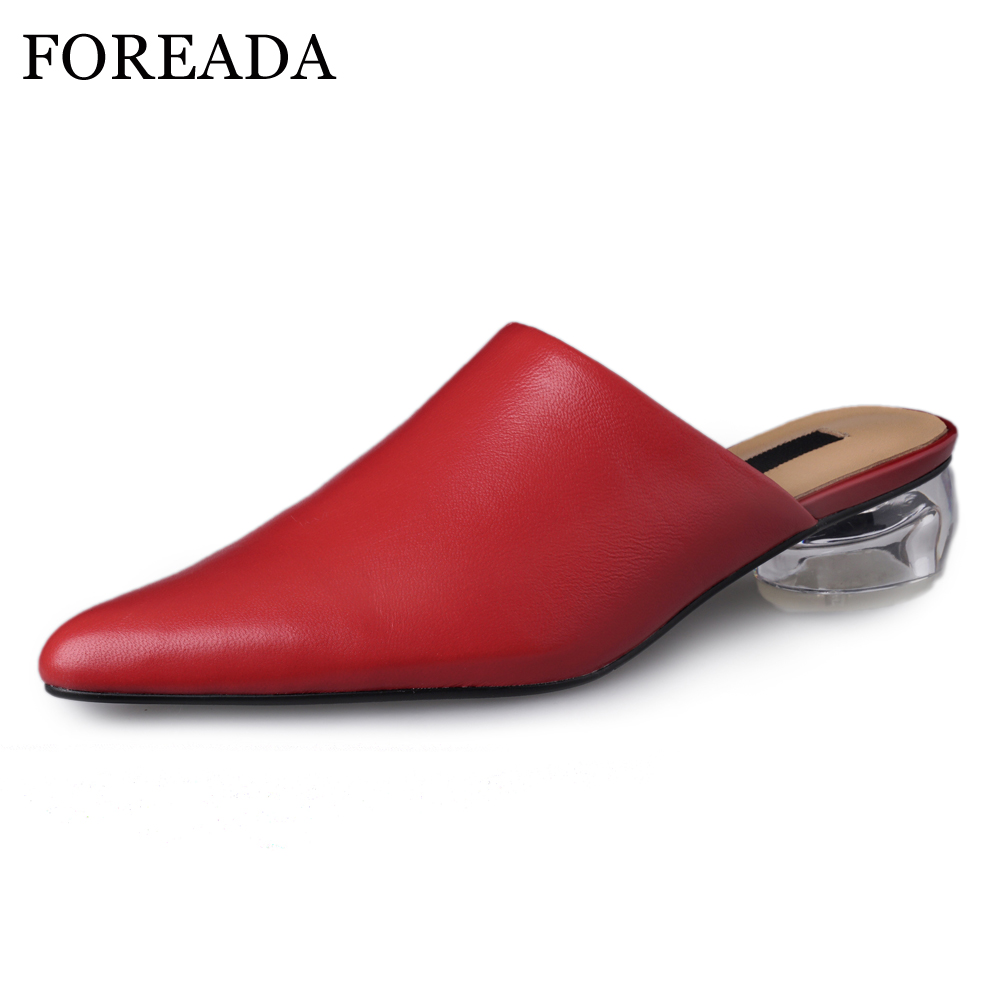 FOREADA Women Mules Shoes High Heels Natural Genuine Leather Transparent Block Heels Shoes Sheepskin Casual Shoes