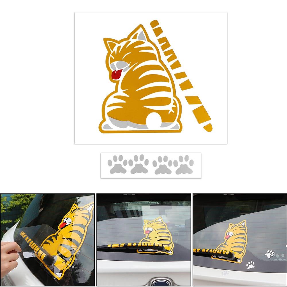 Car Rear Window Wiper Stickers Moving Tail Funny Dog Cat Stiker Switch Lampu Kucing Gantung Mobil Jendela Belakang Vingtank 3d Bergerak Ekor Decals Untuk Di Luar