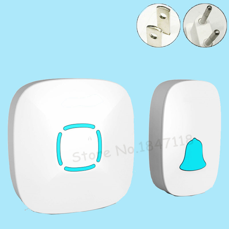 2017 New White EU/US Plug Waterproof Doorbell Wireless Home Smart 36 Melody Led Door Bell With 1 Push Ring Doorbells Button new high quality wireless waterproof door bell 36 music melody 300m doorbell 3 transmitters 3 receiver home doorbells