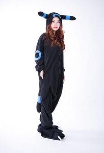 Image 4 - Kigurumi Volwassen Umbreon Rompers Anime Cosplay Kostuum Winter Nachtkleding Pyjama Jumpsuit Homewear Vrouwen Man Hoodies
