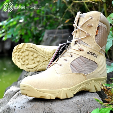Tactical Army Boots For Men Leather Lace Up Front Military Combat Boots Mens High Top Work