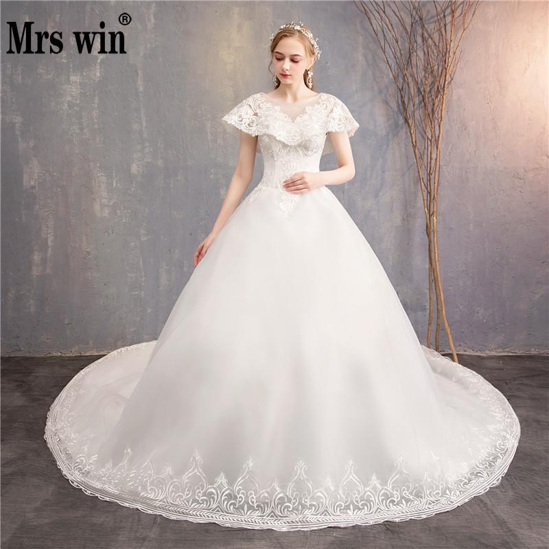 Luxury Wedding Dresses Witn Train 2019 New Mrs Win Classic Ball Gown Princess Vestido De Noiva